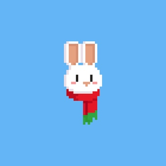 Pixel white rabbit head with red scarf