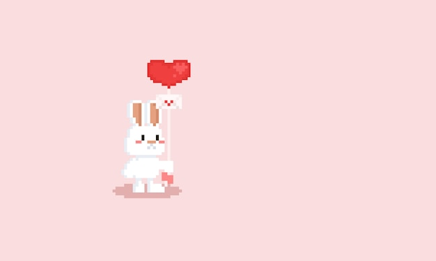 Pixel white rabbit