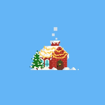 Pixel winter house with tree. christmas
