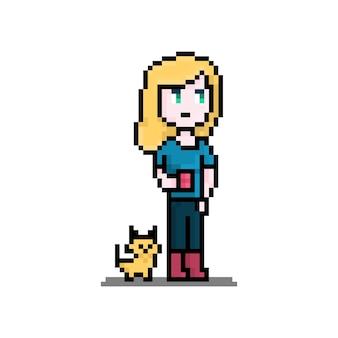一杯のお茶とペットの猫の女性キャラクターを持つピクセルの女性
