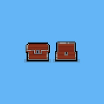 Pixel wood treasure chest.8bit game icon.