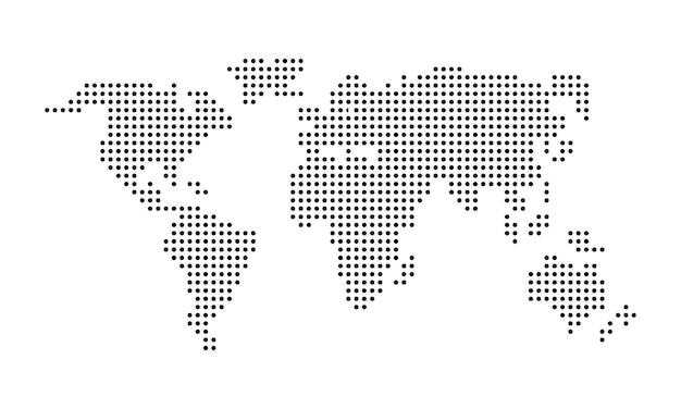 ピクセルの世界地図。点線の世界地図。孤立した白い背景の上のベクトル。 eps10。