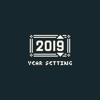 Pixel year setting menu with 2019 text.