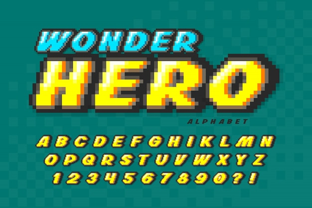 Pixel векторный дизайн шрифта, супер герой стиль алфавит.