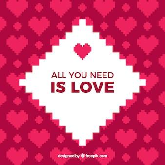 Pixel фон сердца с романтическим сообщением