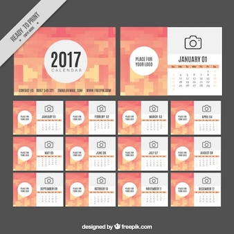 Pixelated 2017 calendar template