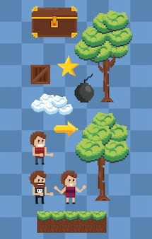 Pixelated characters and elements