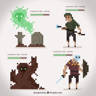 Pixelated characters role-playing game set