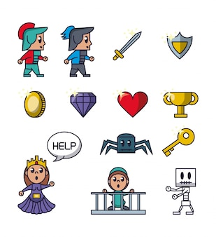 Pixelated game icons icons