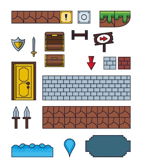 Pixelated game icons