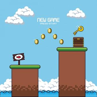 ピクセル化されたゲームの風景のアイコン