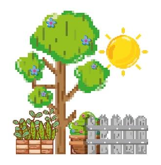 Пиксельный декор сада