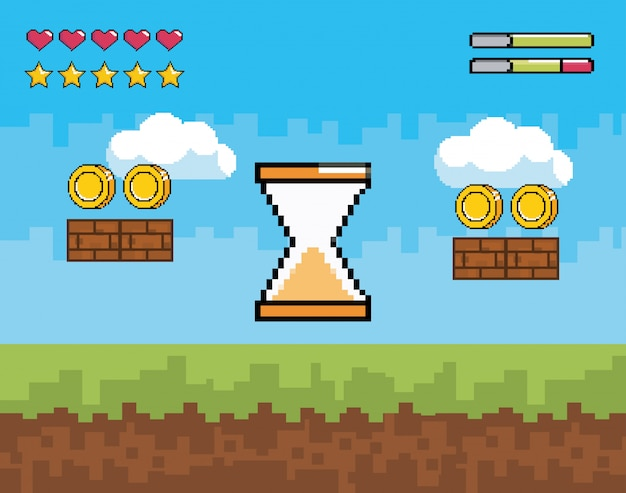 Pixelated hourglass cursor with coins and life hearts bars