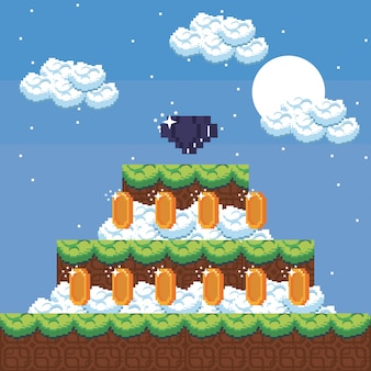 Pixelated landscape videogame scenery