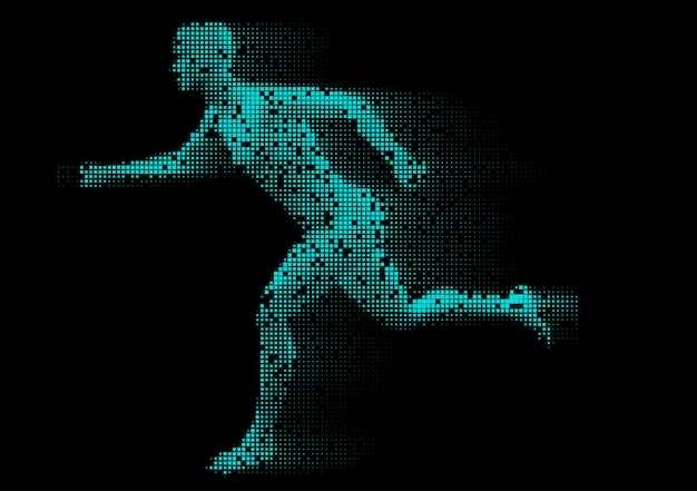 Pixelated male figure running