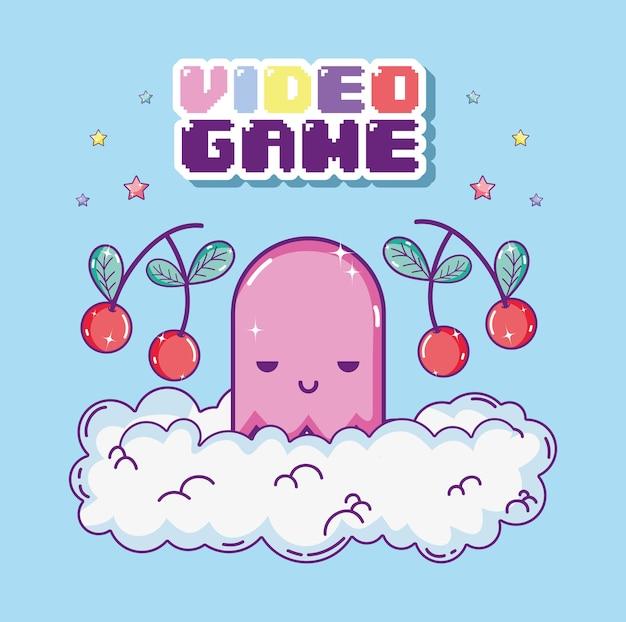 Pixelated 복고풍 비디오 게임 풍경 만화 개념
