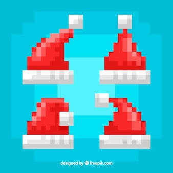 Pixelated santa's hat collection