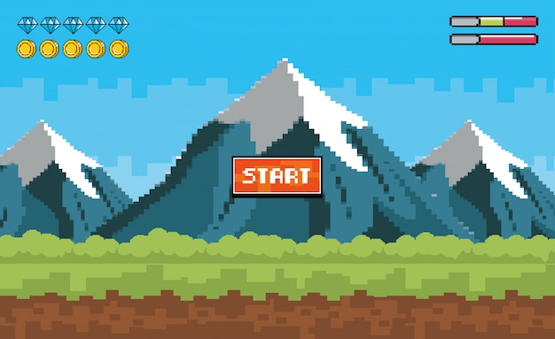 Pixelated snowy mountains with diamonds and coins bars