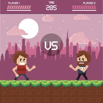 Pixelated urban videogame scenery