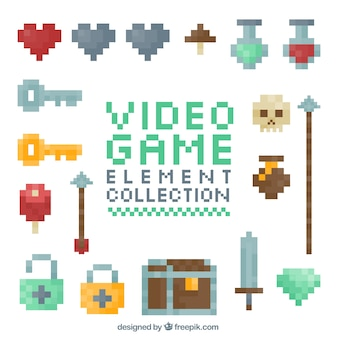 Pixelated video game elements