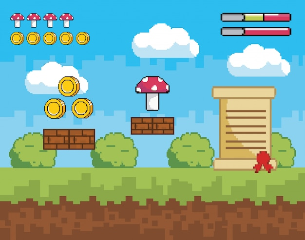 Pixelated videogame scene with coins and fungus with letter