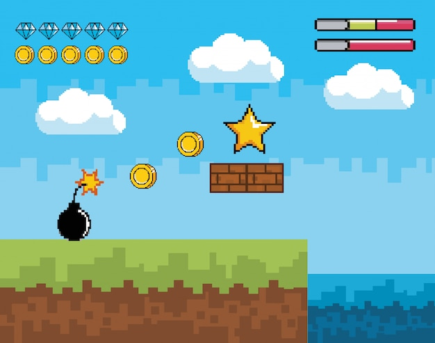 Pixelated videogame scene with star and coins with bomb