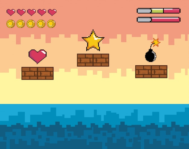 Pixelated videogame scene with star and heart with bomb