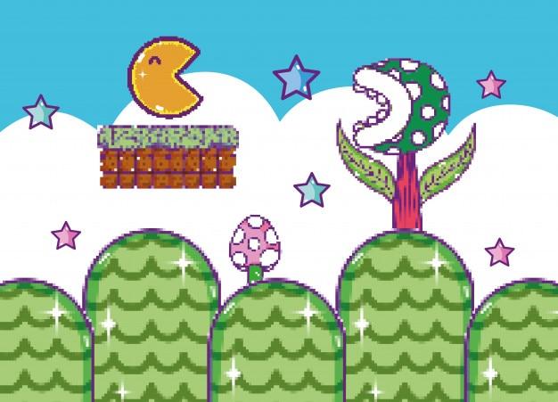 Pixelated videogame scenery cartoon concept