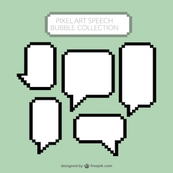 Pixelated white speech bubbles