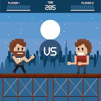 Pixelated городской пейзаж видеоигр