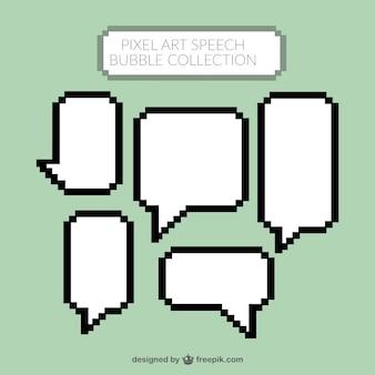 Pixelated белый речи пузыри