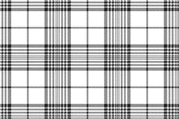 Pixels black and white check plaid seamless pattern