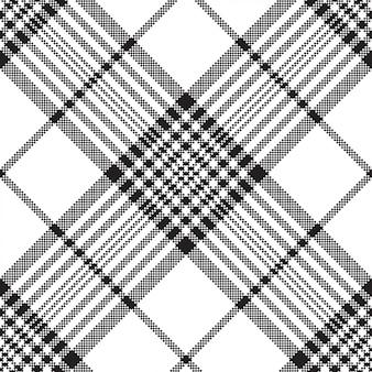 Pixels black and white check plaid seamless pattern