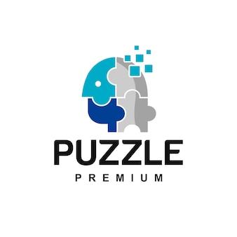 Pixels human puzzle logo