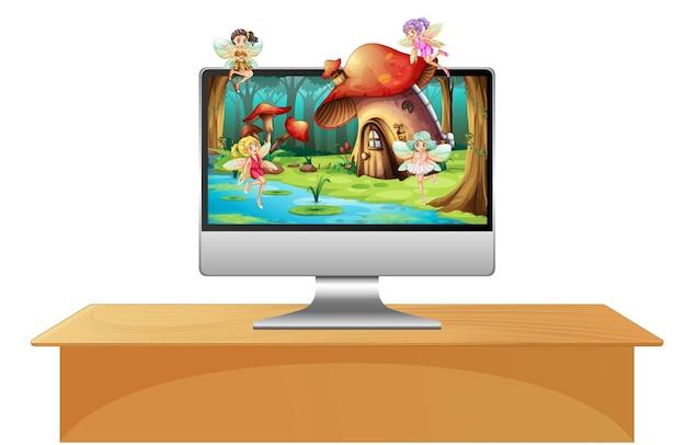 コンピューター画面上のピクシー妖精
