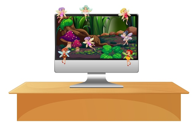 Пикси-фея на экране компьютера