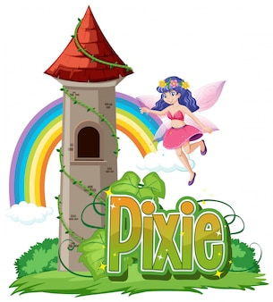 Pixie logo with little fairies on white background