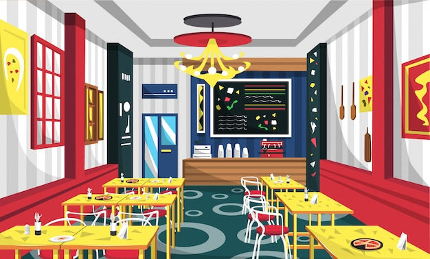 Pizaa cafe with modern style