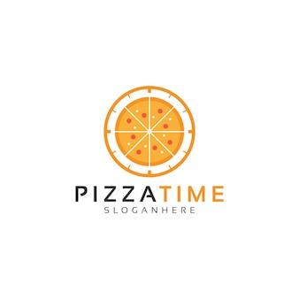 ピザと時計、ピザ時間ロゴデザインベクトル