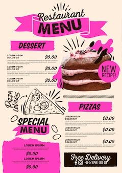 Цифровое вертикальное меню ресторана пиццы и десертов