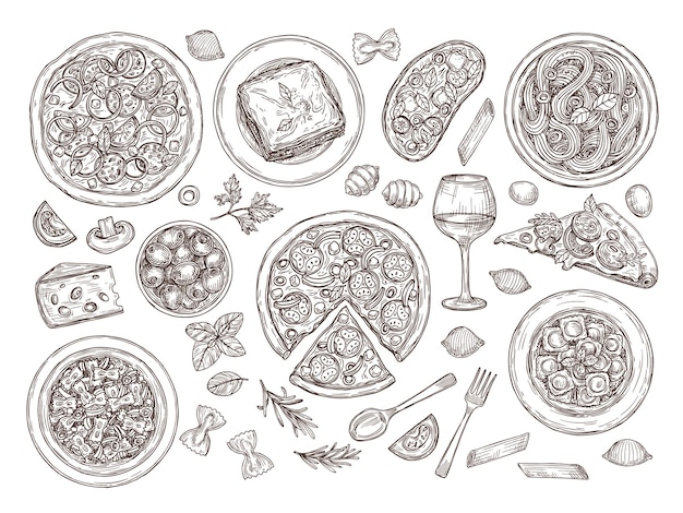 Пицца и паста. итальянская кухня, разнообразные блюда томатного вина. ручной обращается традиционная кухня италии, набор векторных сырных тарелок спагетти. иллюстрация приготовления пиццы и пасты, меню еды