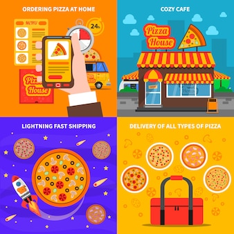 Pizza background set