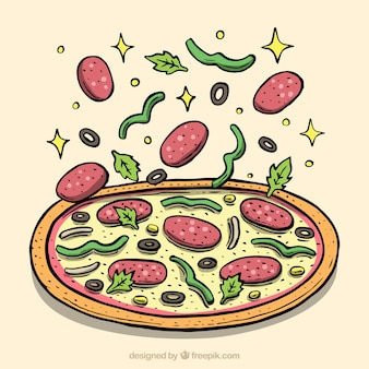 Pizza background with delicious ingredients