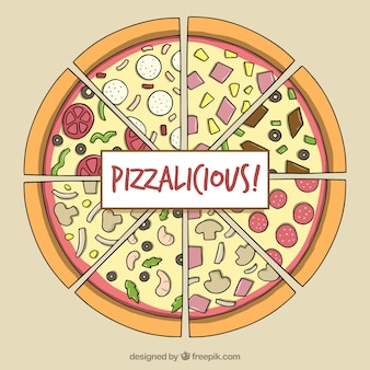 손으로 그린 재료와 피자 배경
