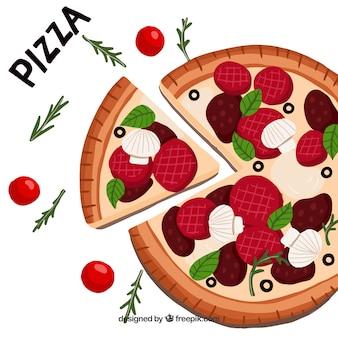 재료와 피자 배경