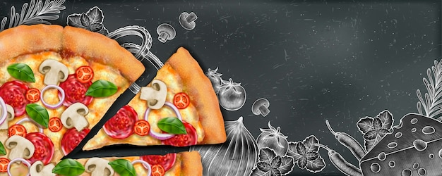 Pizza banner ads with  illustration food and woodcut style illustration on chalkboard background