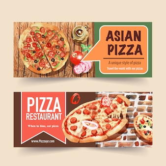 Pizza banner design with asian pizza watercolor illustration.