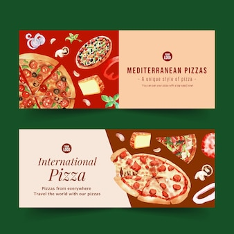Pizza banner design with cheese, pizza, onion watercolor illustration.