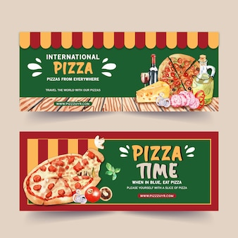 Pizza banner design with cheese, pizza watercolor illustration.