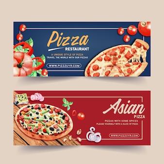 Pizza banner design with pumpkin, pizza watercolor illustration.